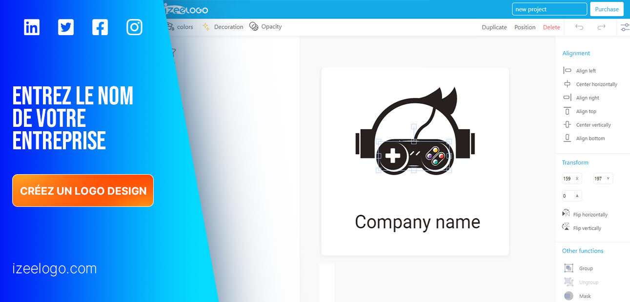 Créez un logo professionnel avec Izeelogo. Entrez le nom de logo design. Exemple de logo gaming.