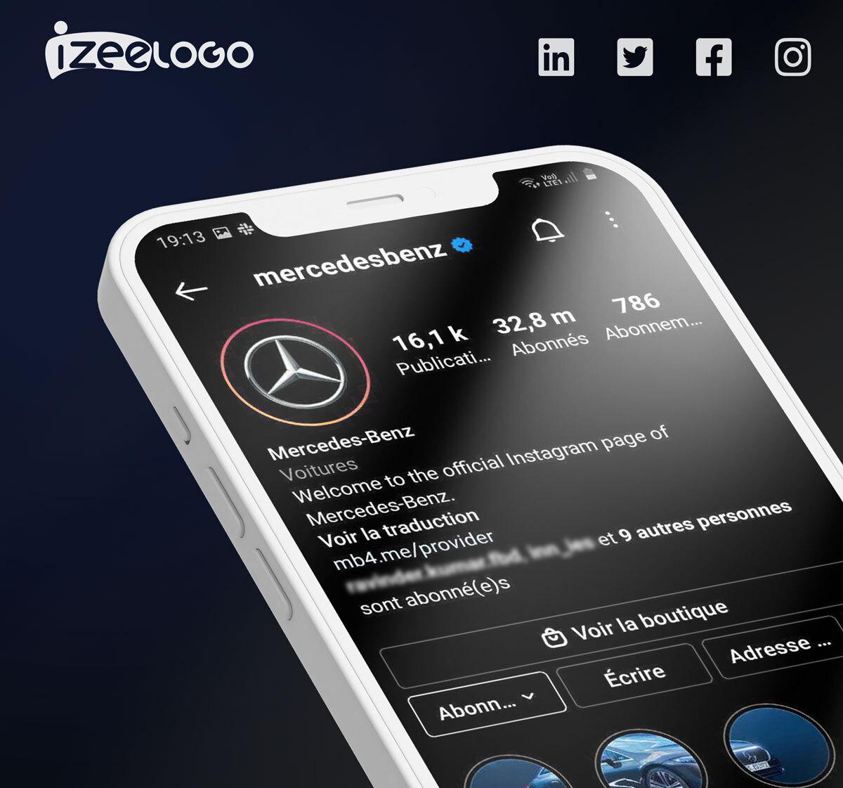 Voici l'exemple de la page Instagram de la marque Mercedes-Benz – logo Instagram noir.