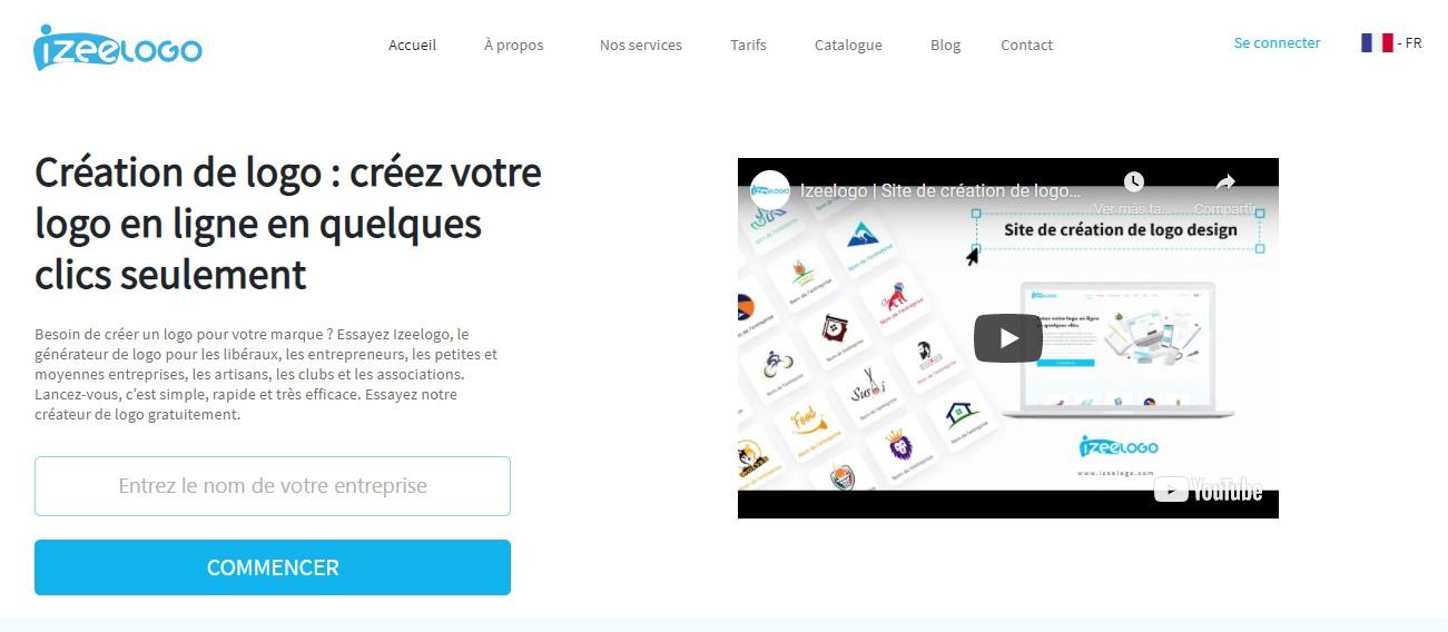 La page d'accueil du site web Izeelogo, l'outil de création de logos