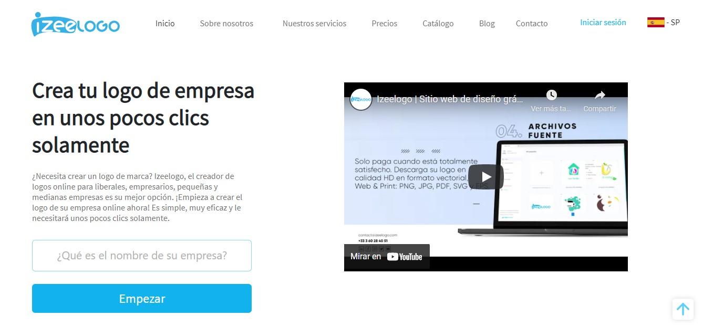 La página de inicio del sitio web Izeelogo herramienta de creación de logos