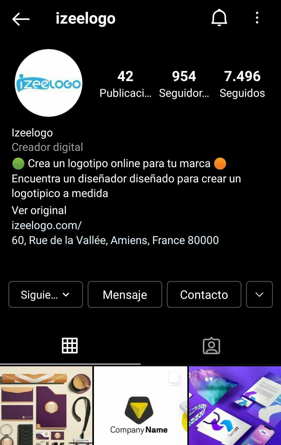 Aquí está el perfil instagram de Izeelogo, su creador de logos personalizados online