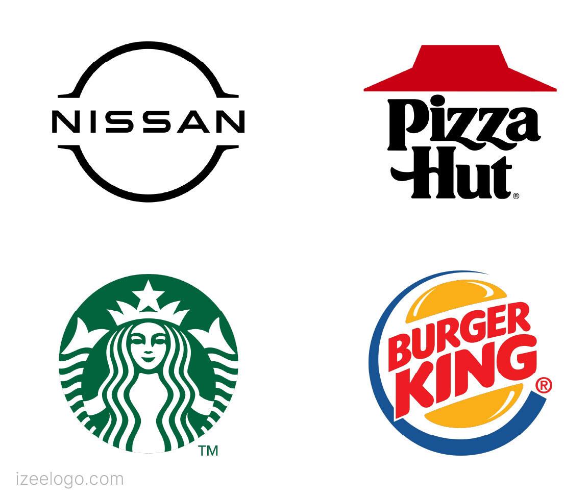 Plantilla de logo isologo : logo pizza hut, logo nissan, logo Starbucks, logo Burger king